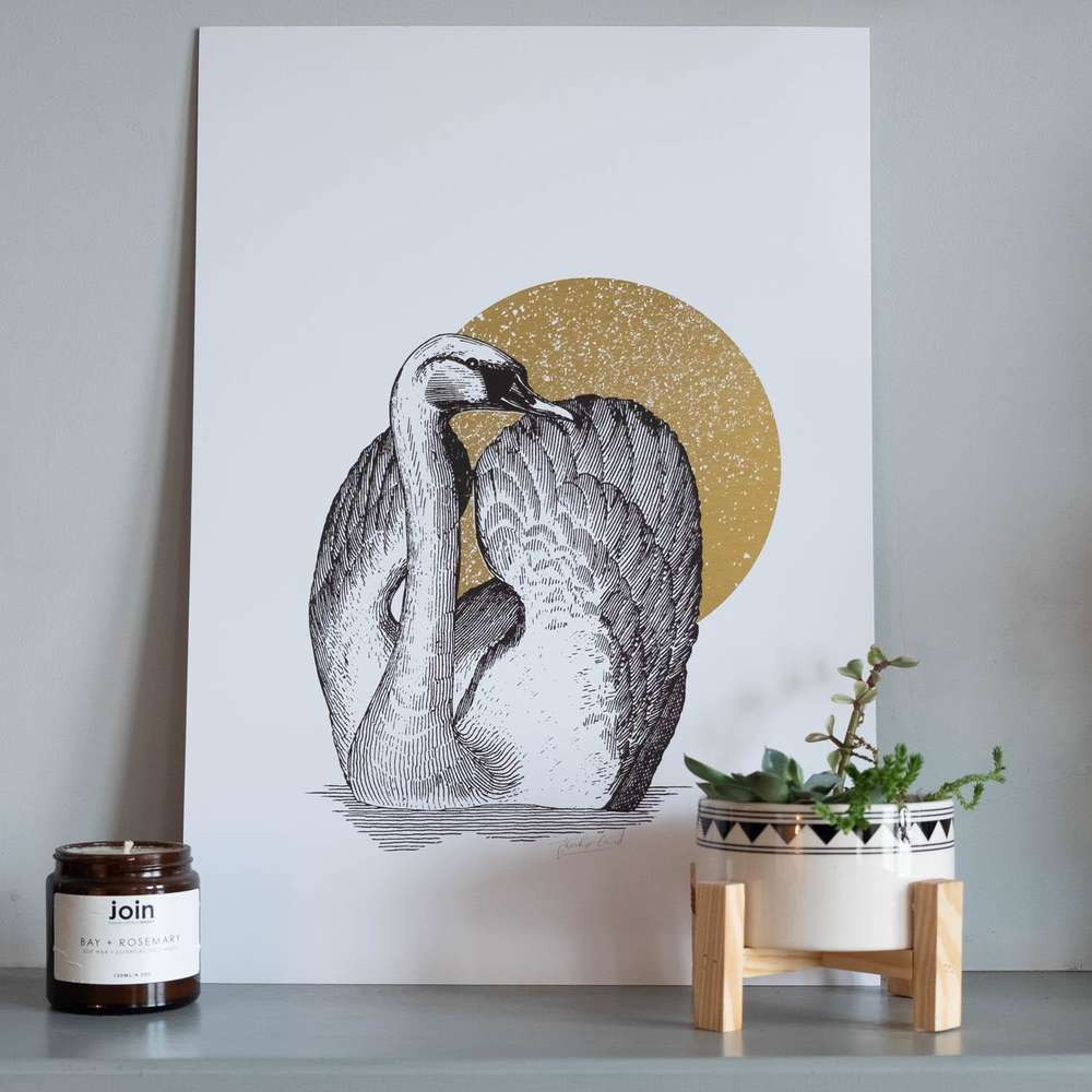 Jen Rowland Swan Foiled Gold Art Print at Albert & Moo