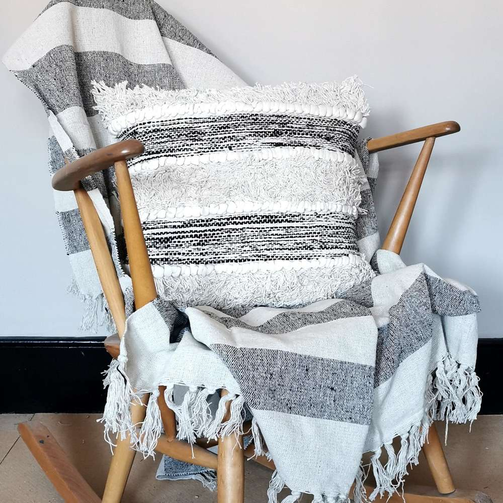 Scandi Boho Striped Cushion at Albert & Moo