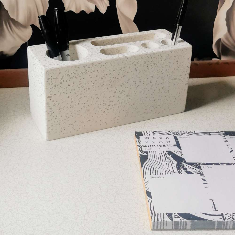 White Terrazzo Desk Tidy at Albert & Moo