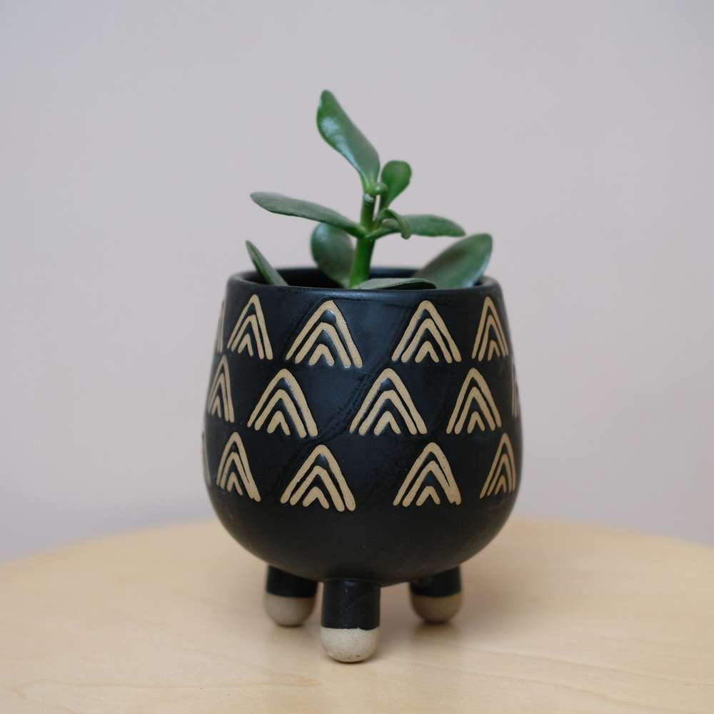 Black Striped Leggy Plant Pot at Albert & Moo
