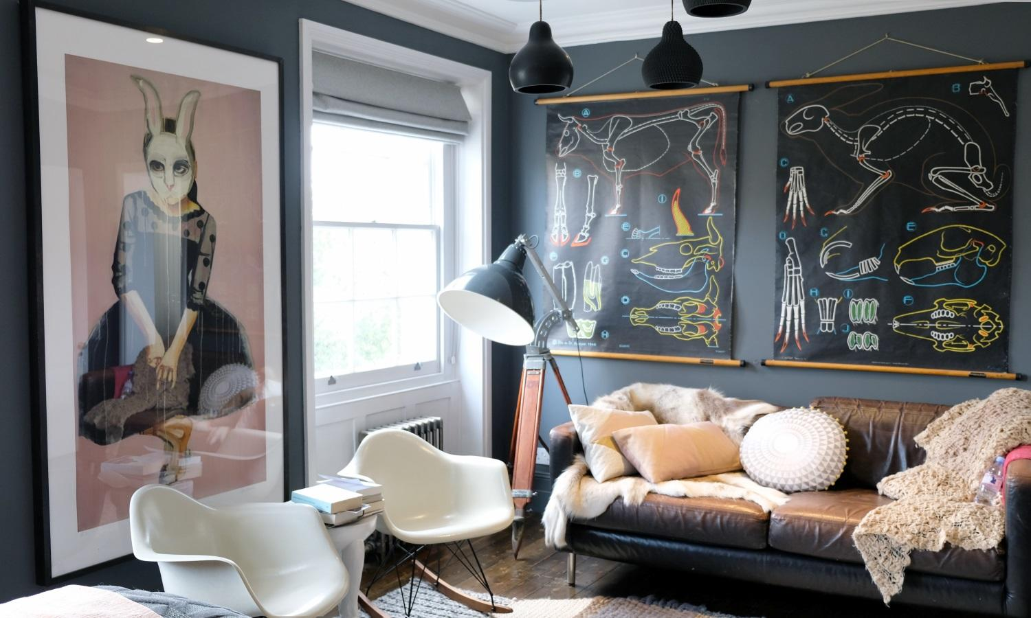 Gorgeous grey and pink bedroom with vintage furniture and artwork in De Beauvoir Townhouse for Living Etc.