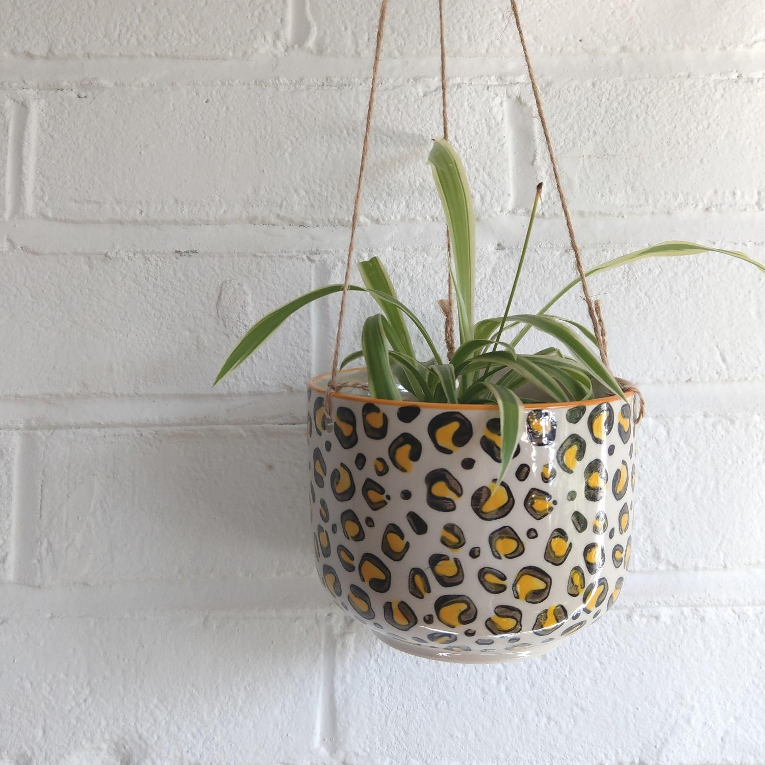 Sass & Belle Leopard Print Loves Hanging Plant Pot at Albert & Moo