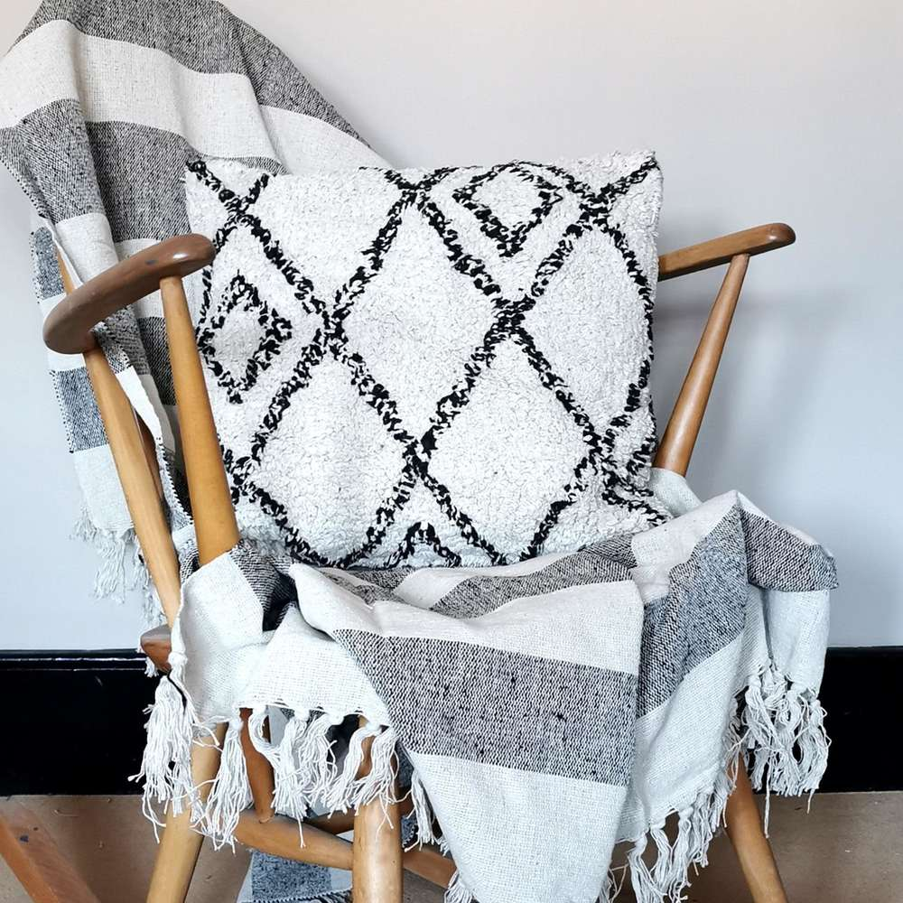 Scandi Boho Berber Style Cushion at Albert & Moo