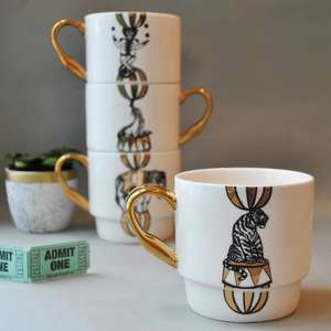 Maid in China Circus Stack Set of Four Mugs at Albert & Moo