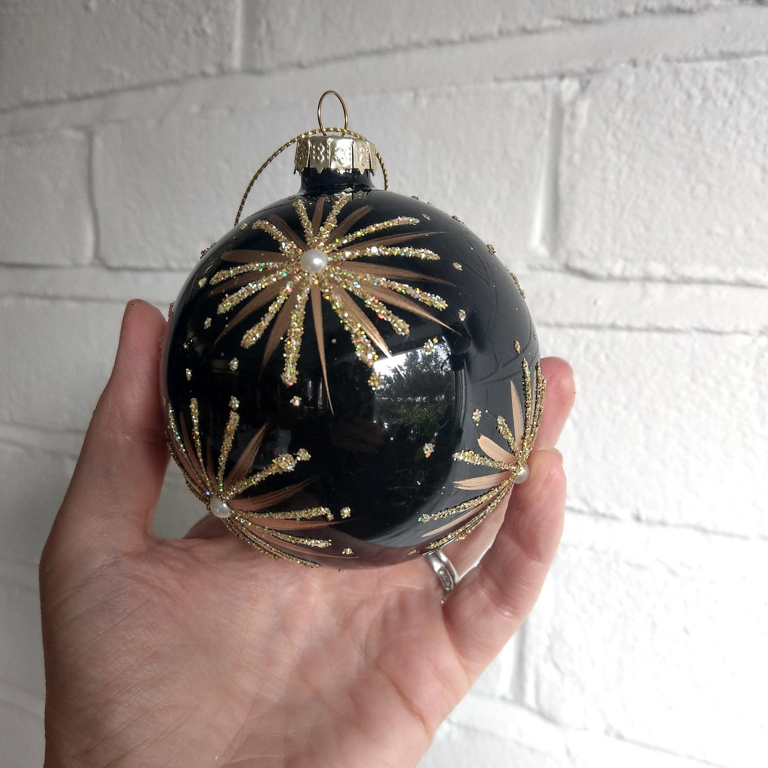 Gold & Black Firework Bauble at Albert & Moo