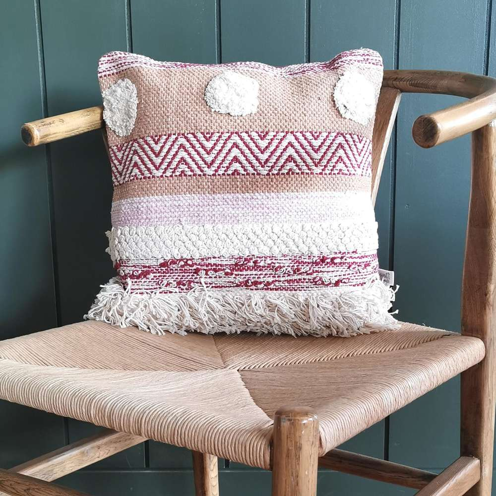 Nevada Striped Pom Pom Cushion at Albert & Moo