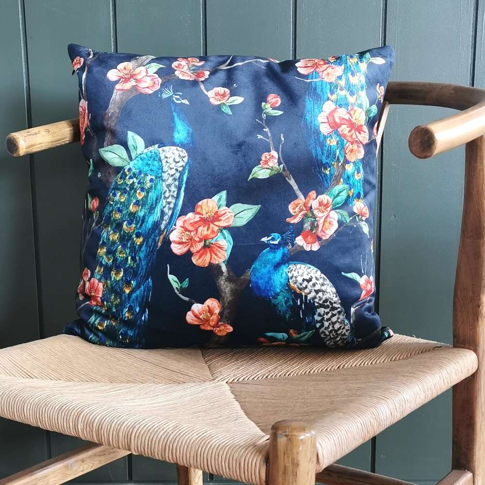 Dark Blue Peacock Cushion at Albert & Moo