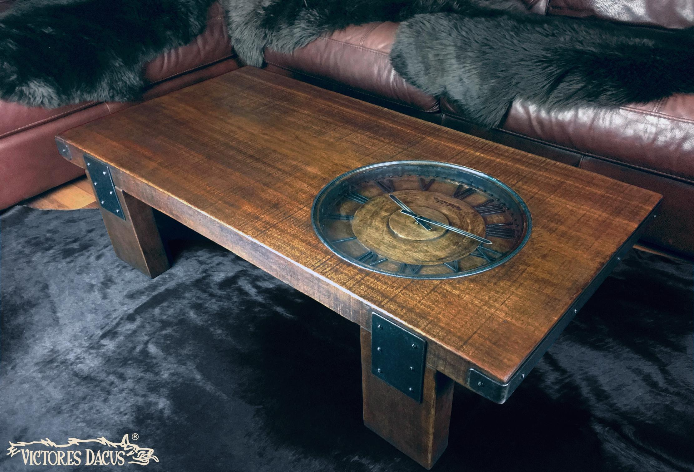 Vintage Clock Coffee Table Perspective 1
