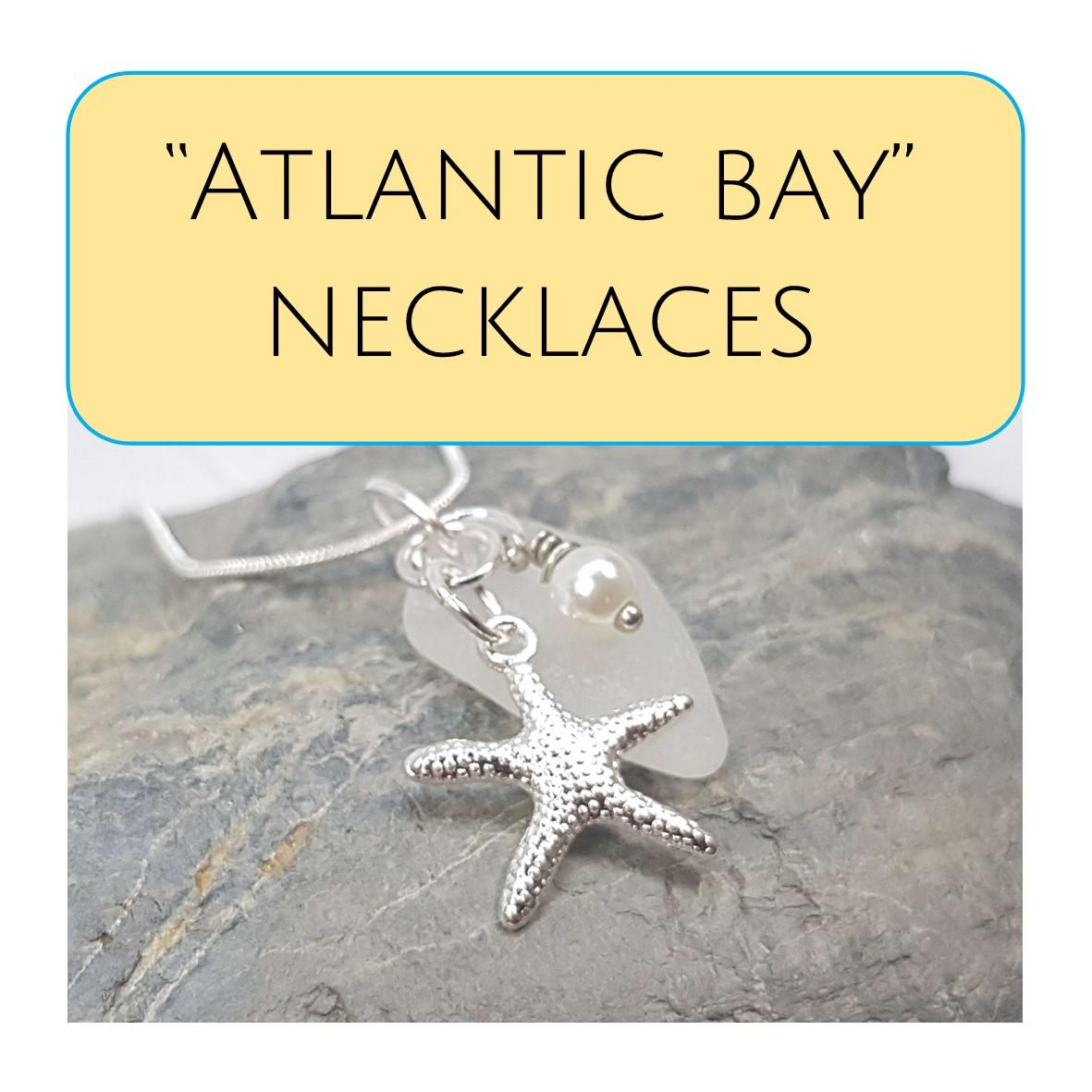 """Atlantic Bay"" Silver Plated Sea Glass Cluster Necklaces"