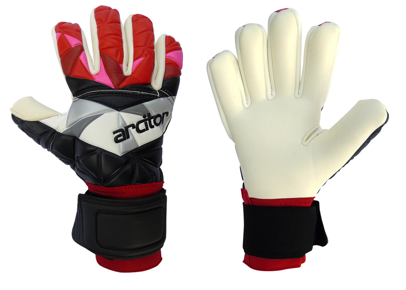 Black and red goalkeeping gloves