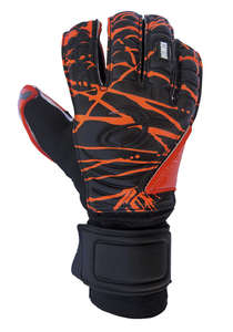 black and orange goalkeeper gloves