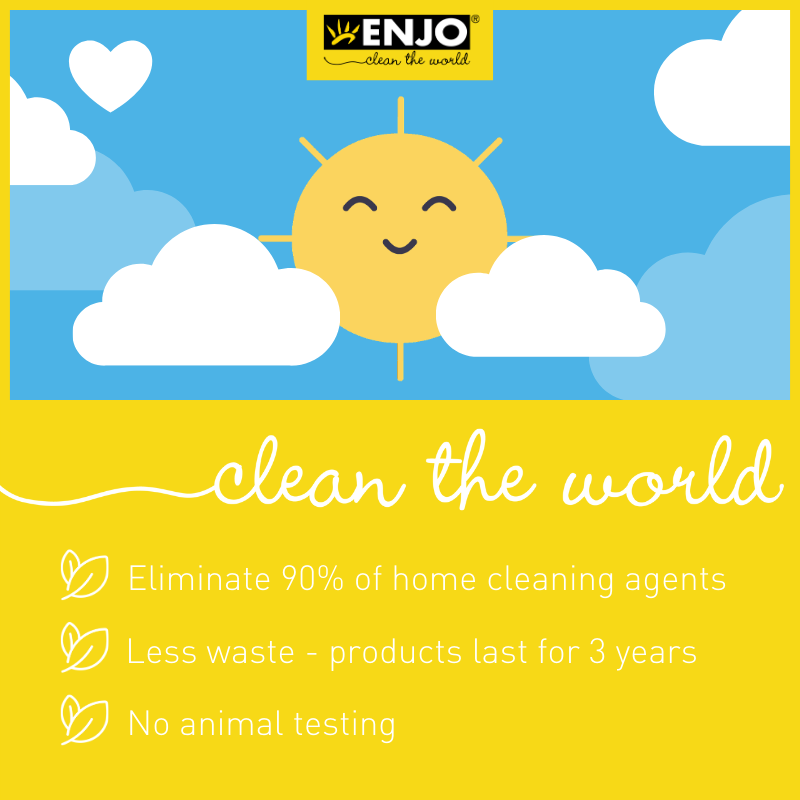 The three R's, Reduce, Reuse, and Recycle and cleaning with ENJO