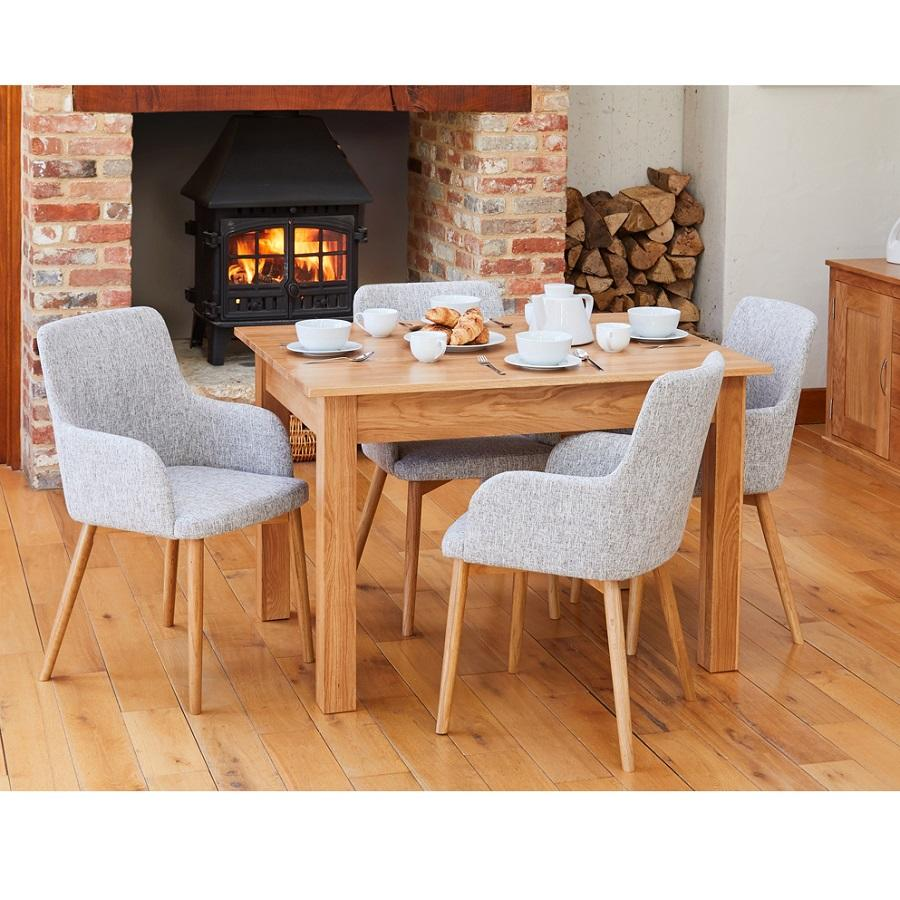 Oak Small Dining Table With 4 Light Grey Chairs