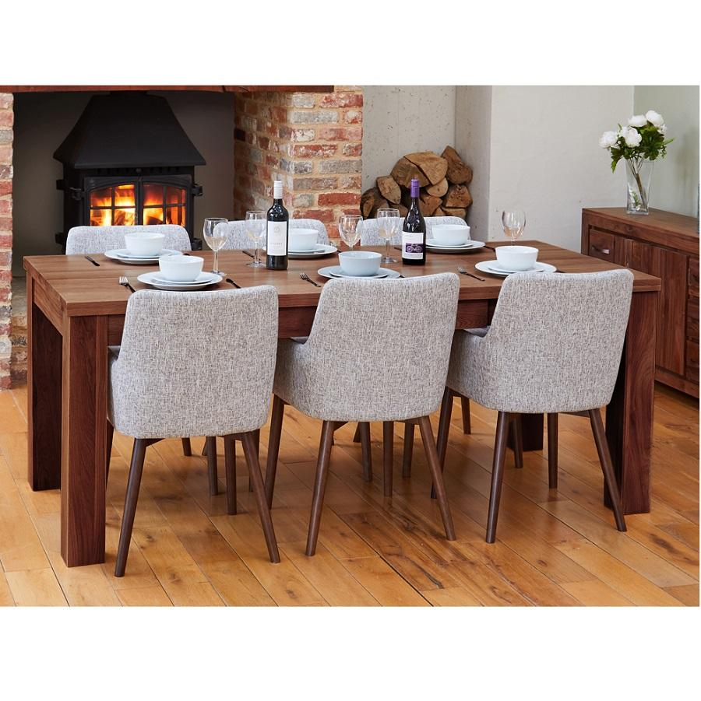 Modern Walnut Extending Dining Table