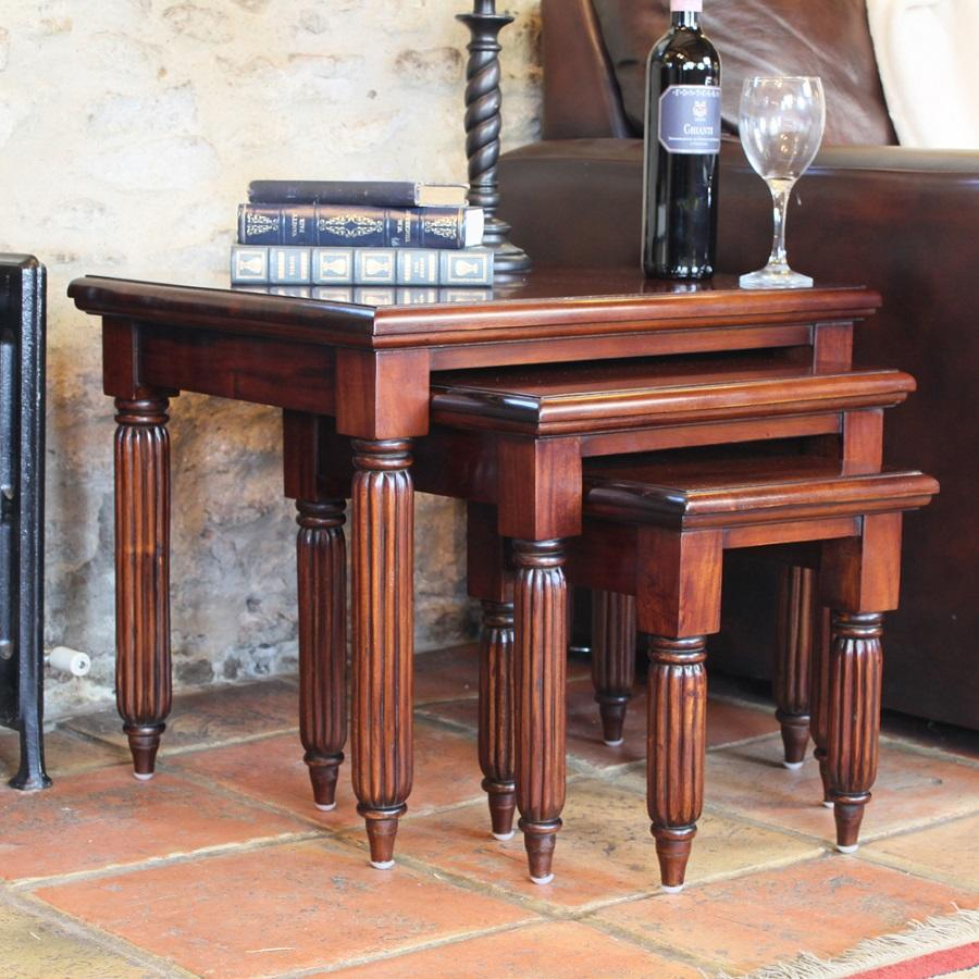 Elegant Mahogany Nest of Coffee Tables