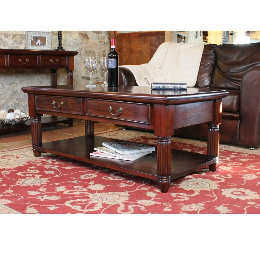 Elegant Mahogany Coffee Table With Drawers