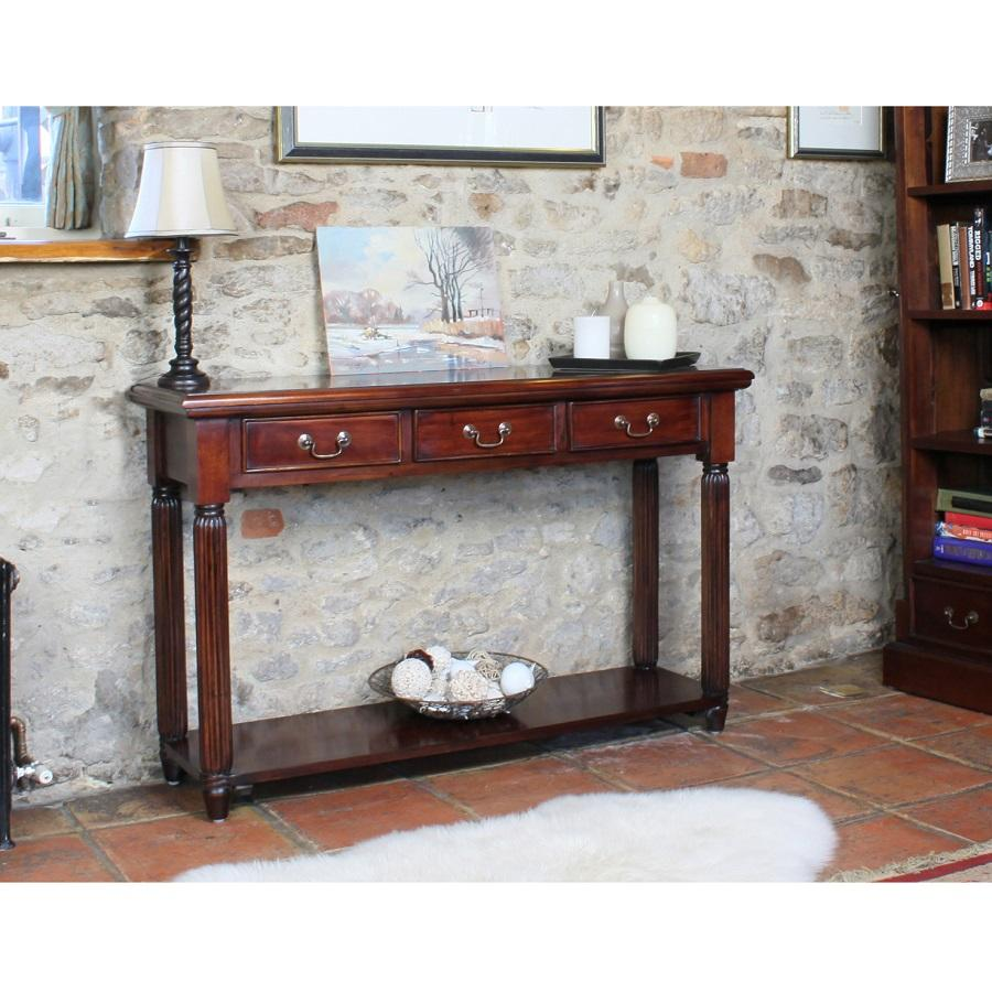 Elegant Mahogany Console Table With Drawers