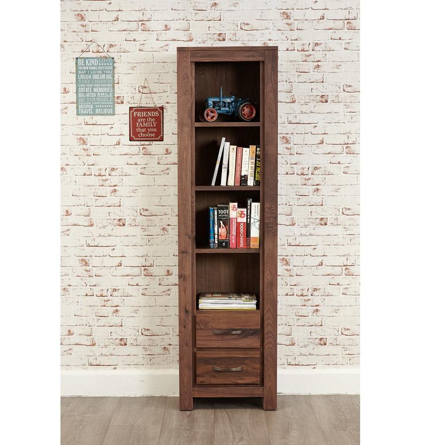 Modern Walnut Tall Narrow Bookcase