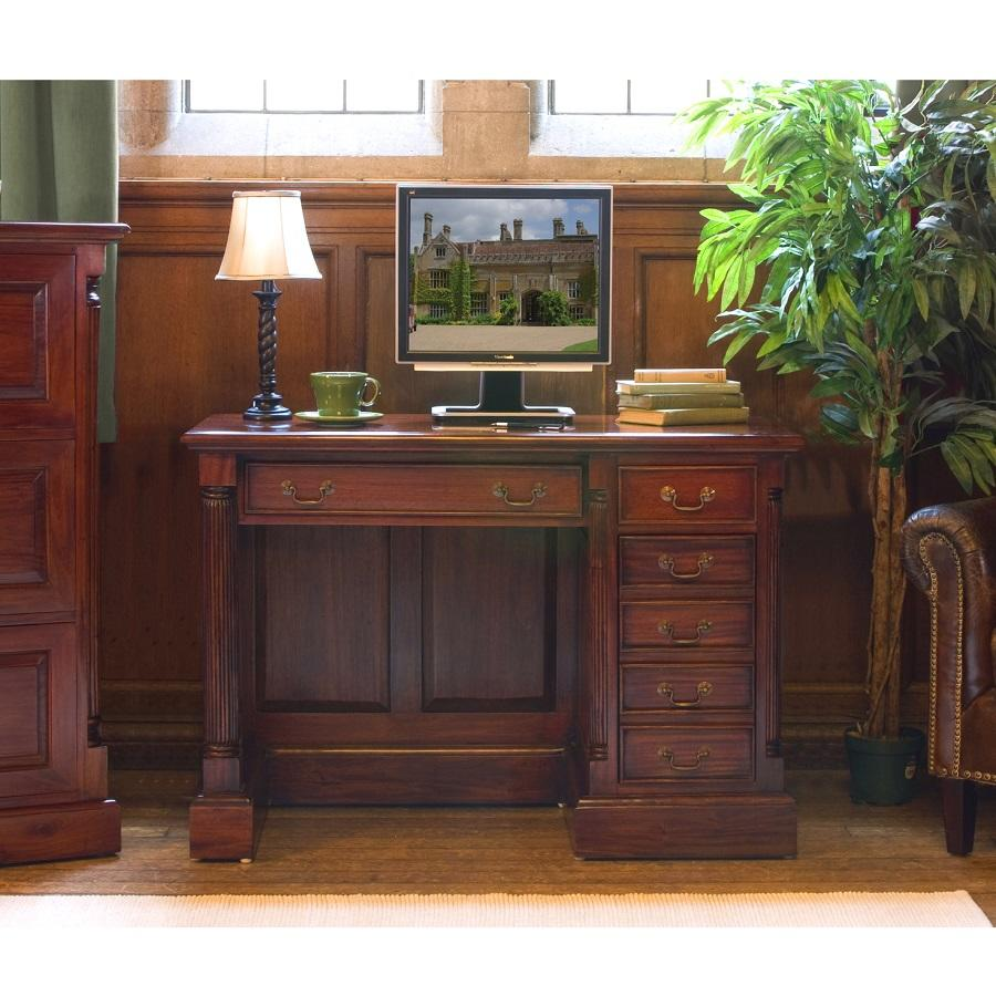 Elegant Mahogany Single Pedestal Computer Desk