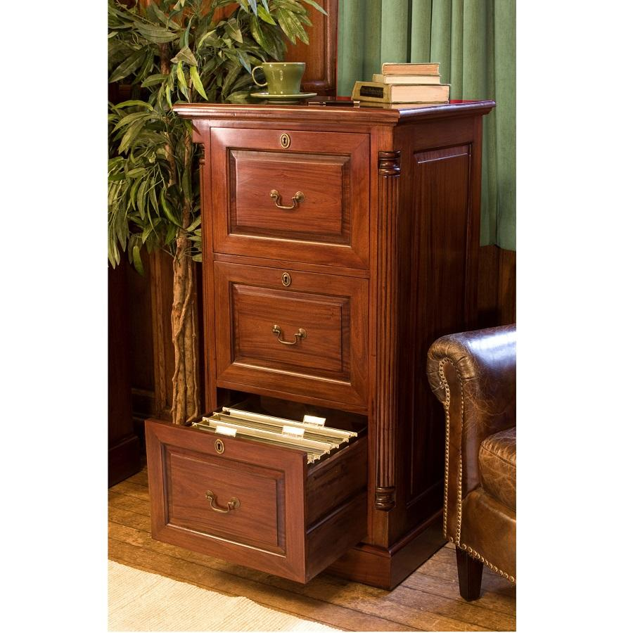 Elegant Mahogany Three Drawer Filing Cabinet