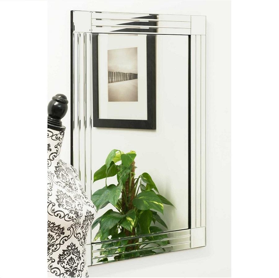 Remy Bevelled Square Corner All Gl Wall Mirror 90 X 60 Cm