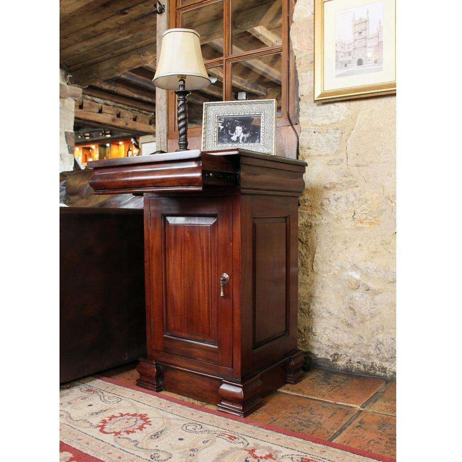 Elegant Mahogany Lamp Table with Cupboard and Drawer
