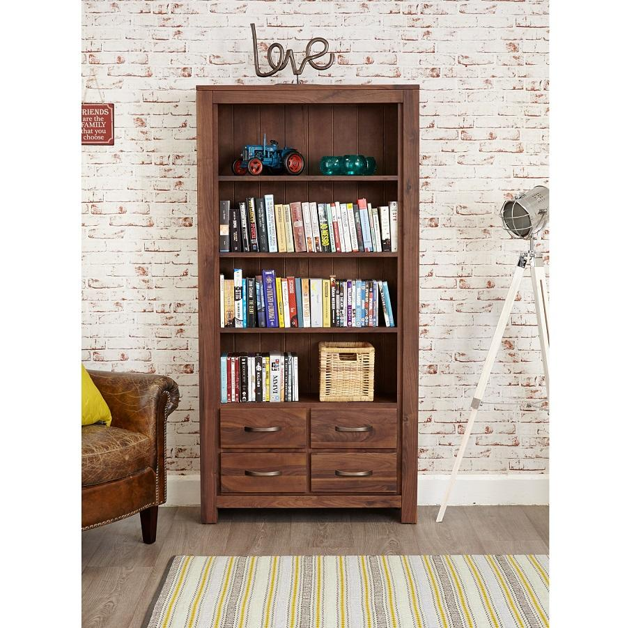 Modern Walnut Large Bookcase With Drawers