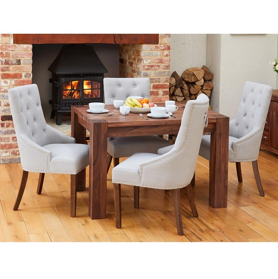 Walnut Small Dining Table with 4 Grey Accent Narrow Back ...