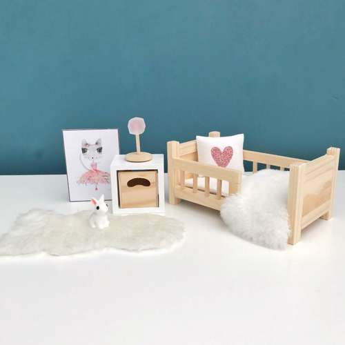 modern dollhouse, modern dolls house, dollhouse toddler bed, miniature petit amelie bed, handmade modern dollhouse, DIY modern dollhouse, scandi dollhouse, ikea dollhouse furniture
