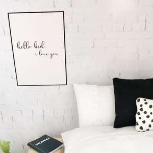 hello bed i love you wall print, dollhouse wall print