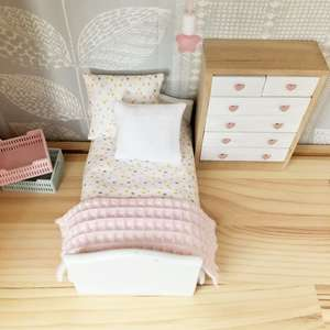 dollhouse bedding, miniature bedding, pastel dollhouse