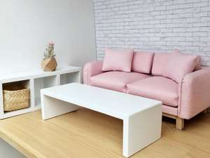 dollhouse living room package, dollhouse sofa, modern dollhouse, pink dollhouse sofa