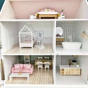 complete dollhouse furniture package, modern dollhouse furniture package