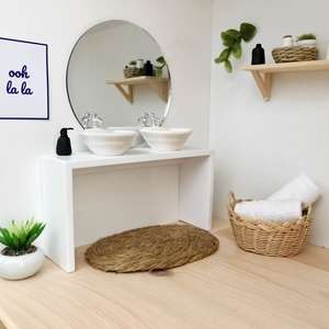 modern dolls house bathroom, modern dollhouse bathroom, dolls house double vanity, dollhouse vanity