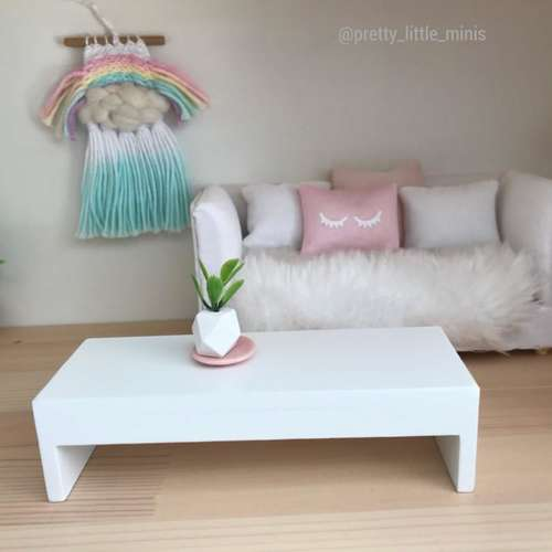 Pretty Little Minis Low White Contemporary Coffee Table