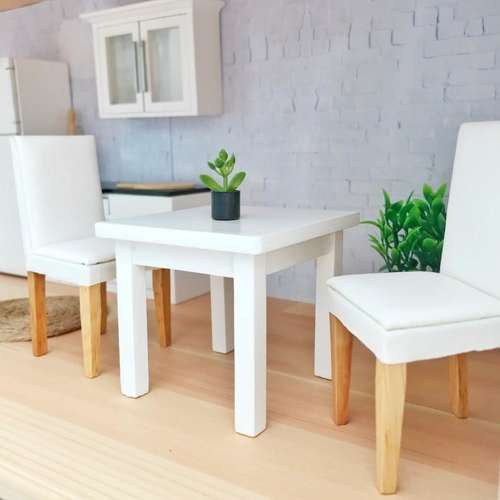Pretty Little Minis Square White Dining Table For Modern Dollhouse
