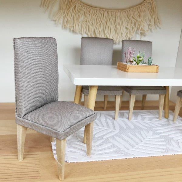 modern dollhouse dining room, modern dollhouse chairs, modern dolls house dining, miniature dining chair, dollhouse fabric dining chair