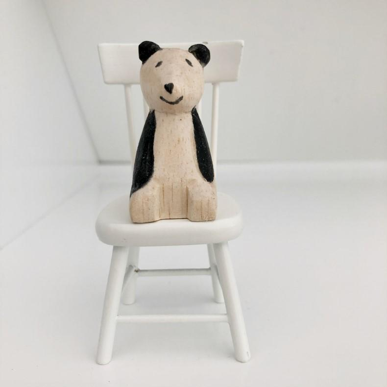miniature panda, little panda bear, dollhouse bear, dollhouse teddy