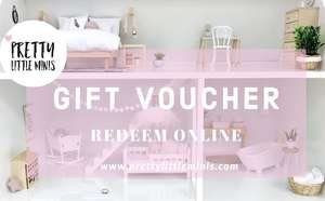 gift voucher, modern dollhouse gift card