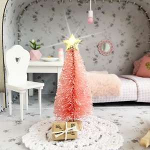 mini pink christmas tree, miniature christmas tree, dollhouse christmas