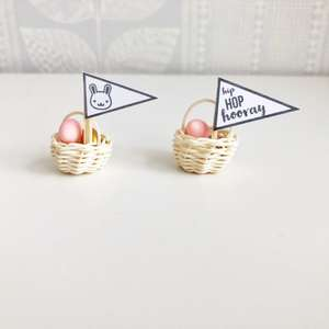 miniature easter, dollhouse easter, mini easter basket, dollhouse basket of eggs