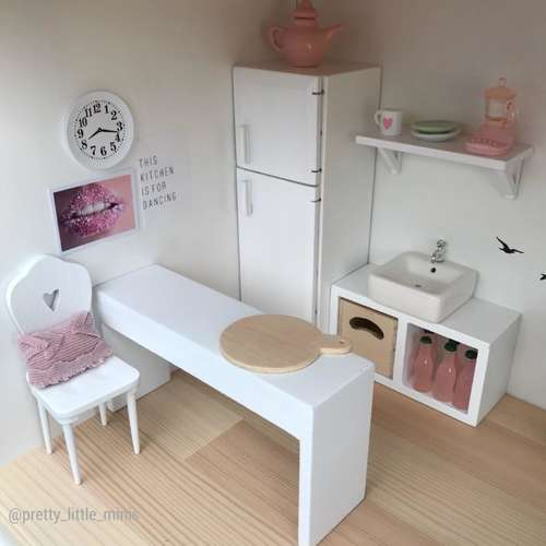 Pretty Little Minis Modern White Breakfast Bar For Your Dollhouse