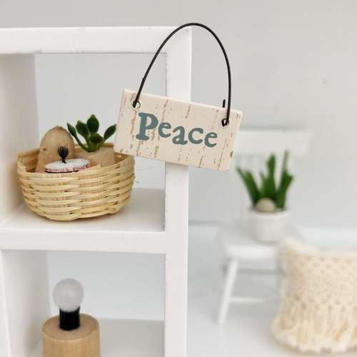 miniature wall sign, peace wall sign, dollhouse peace decor