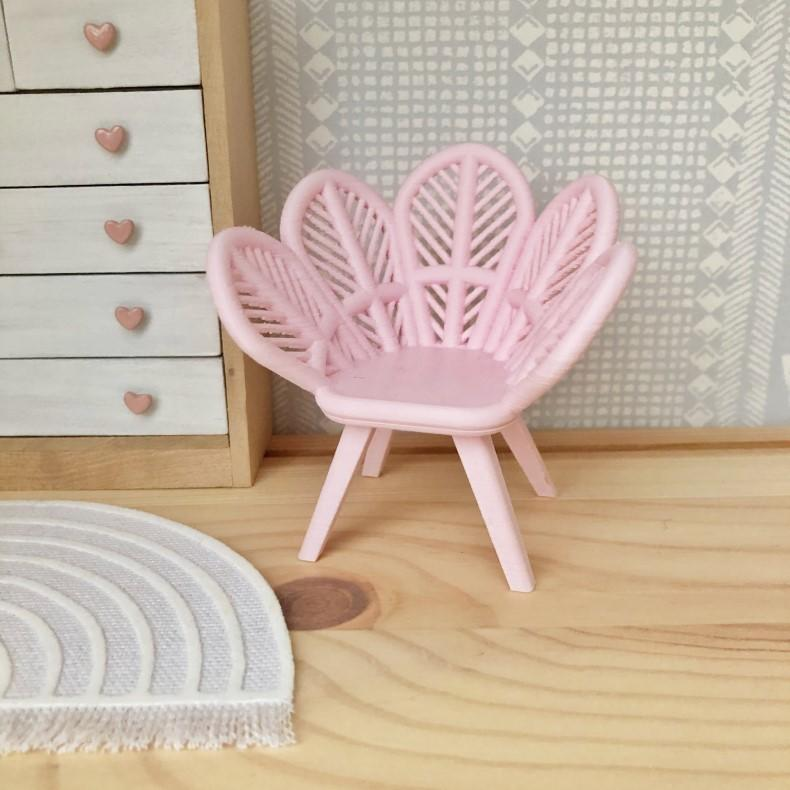 dollhouse petal chair, miniature petal chair, mini flower chair