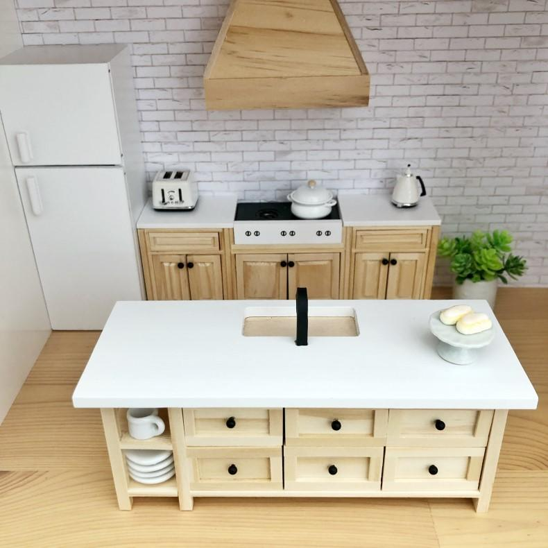 dollhouse kitchen island, modern dollhouse kitchen, miniature kitchen island