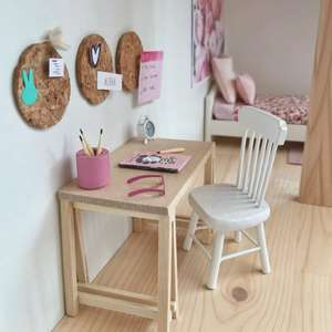 modern dollhouse, modern dolls house, modern dollhouse desk, DIY modern dollhouse furniture, modern dollhouse ideas
