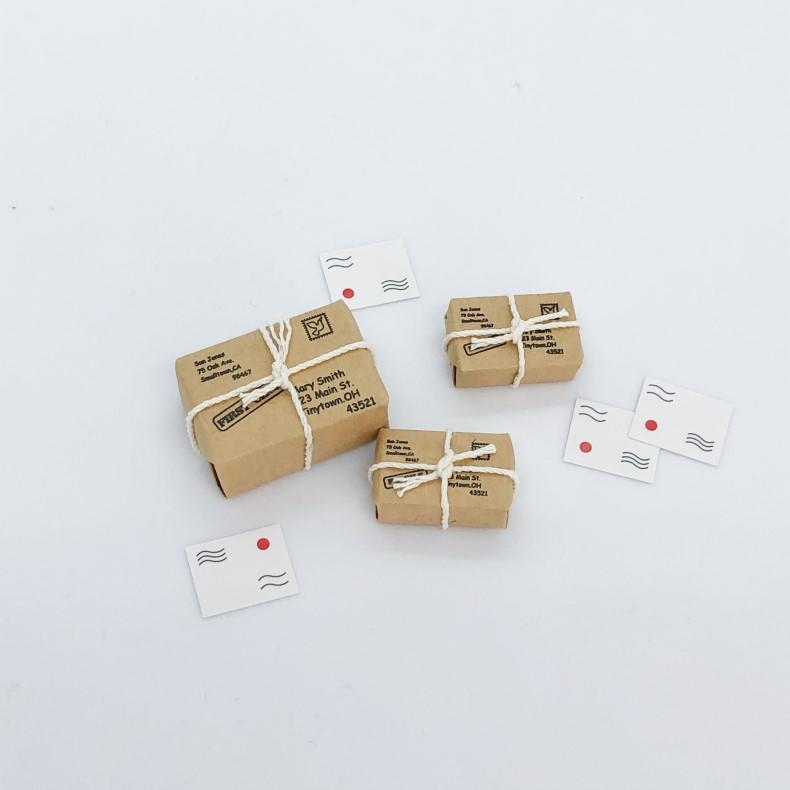 dollhouse parcels, dollhouse packages, mini parcels, mini mail, miniature packages