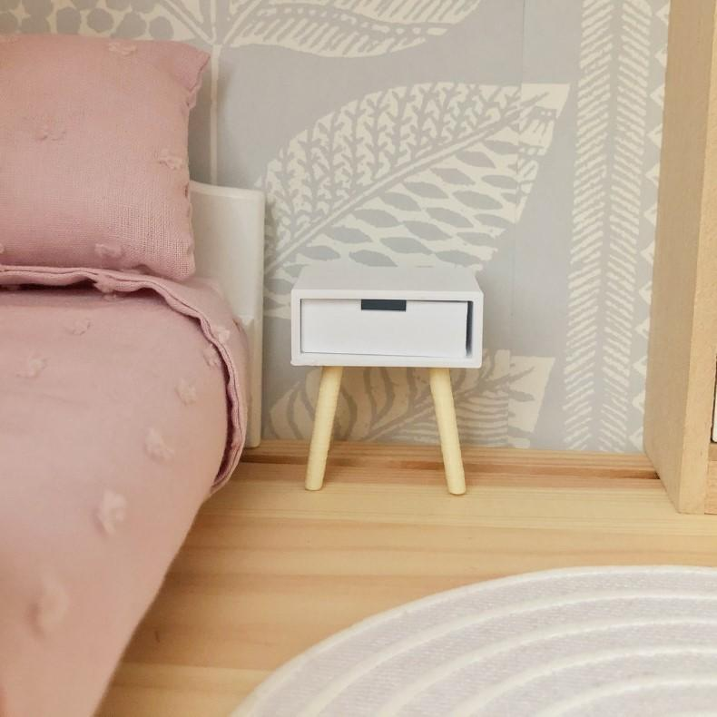 dollhouse scandi furniture, miniature modern dollhouse bedside table