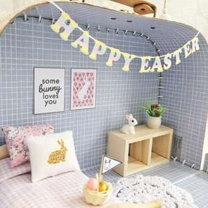 miniature bunting, Easter garland, easter dollhouse
