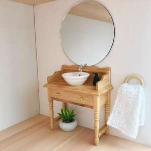 modern dollhouse mirror, round dollhouse mirror, modern dollhouse furniture, modern dollhouse DIY ideas, modern dollhouse interior, dollhouse DIY furniture